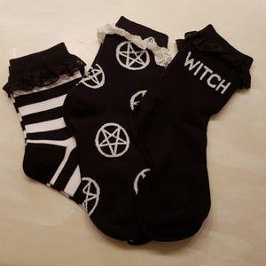 Pack of 3 Killstar Witch Pentagram Ankle Socks